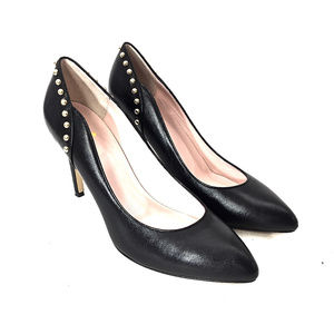 Kate Spade Black Leather Gold Studded Heels